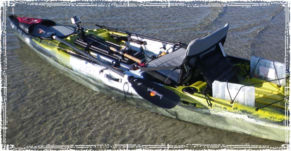 Fishing Kayak ready to push of from shore