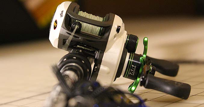A Lew's Mach 1 spooled with braided line